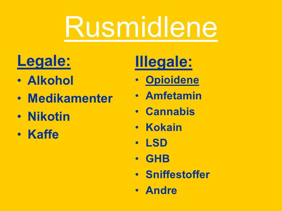 Rusmidlene Legale: Illegale: Alkohol Medikamenter Nikotin Kaffe