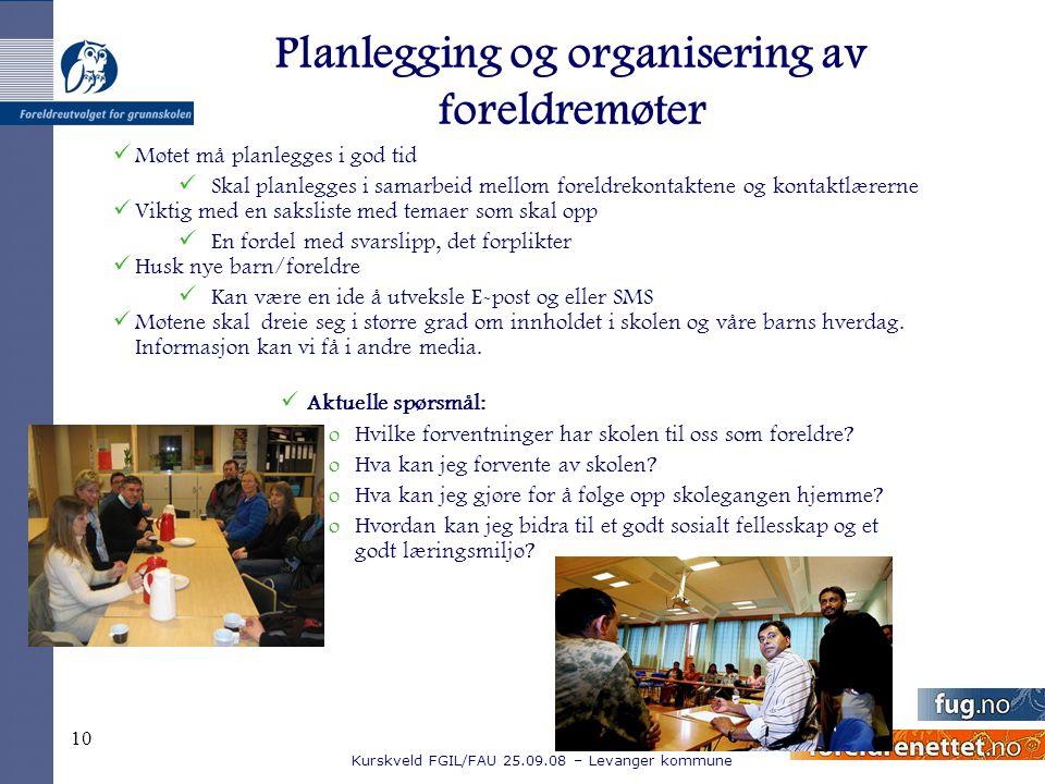 Planlegging og organisering av foreldremøter