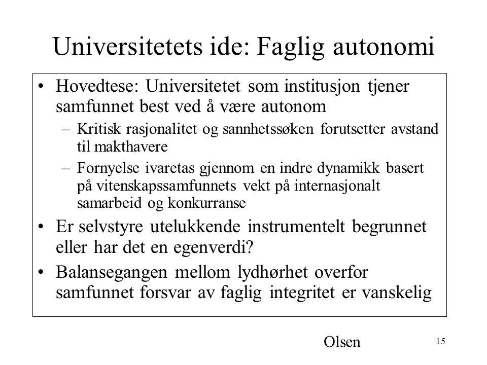 Universitetets ide: Faglig autonomi