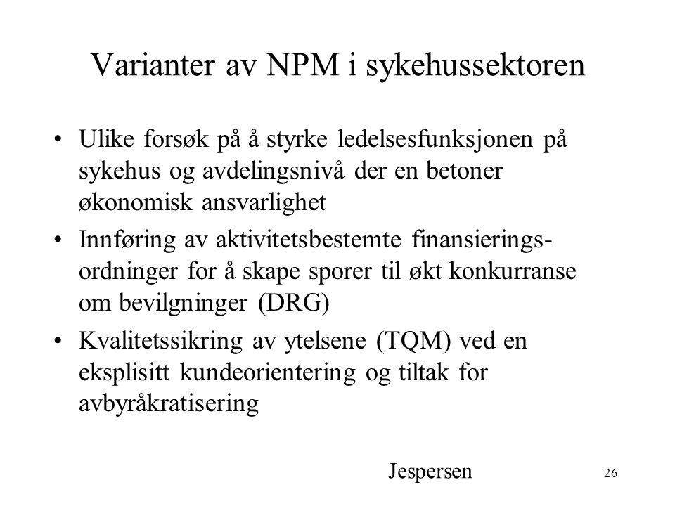 Varianter av NPM i sykehussektoren