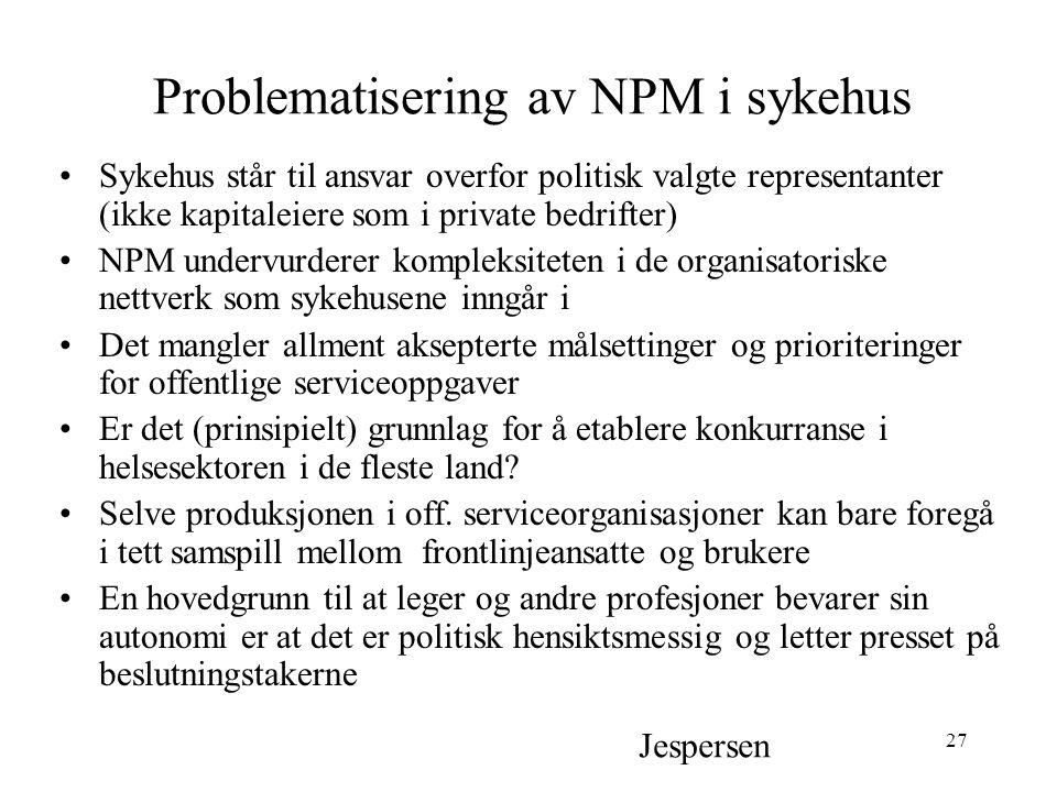 Problematisering av NPM i sykehus