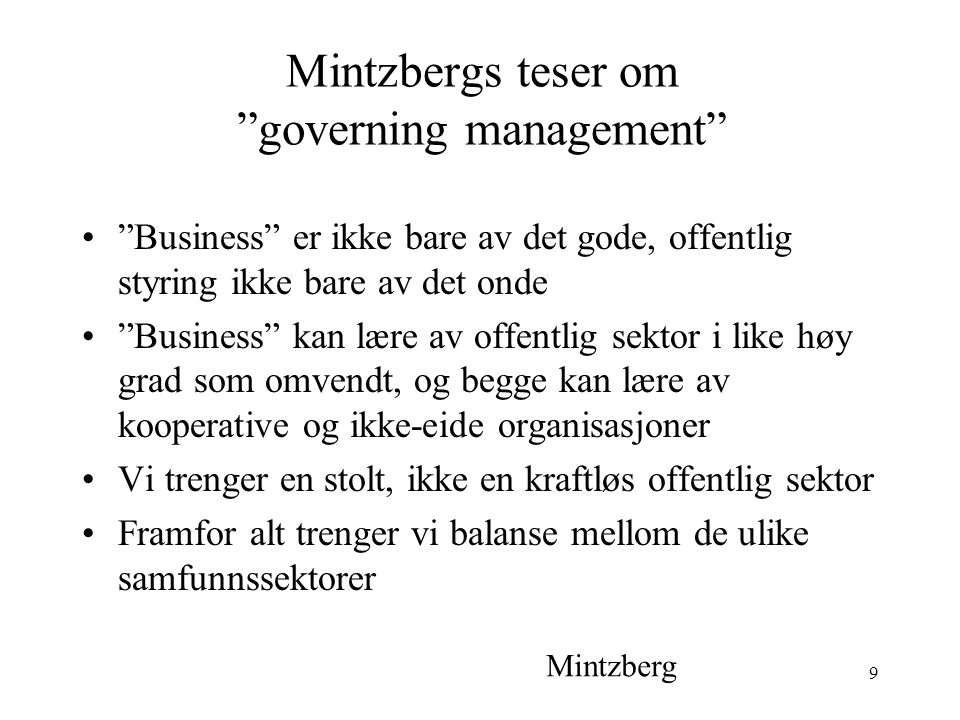 Mintzbergs teser om governing management