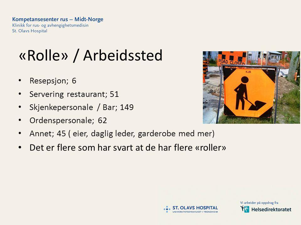 «Rolle» / Arbeidssted Resepsjon; 6. Servering restaurant; 51. Skjenkepersonale / Bar; 149. Ordenspersonale; 62.