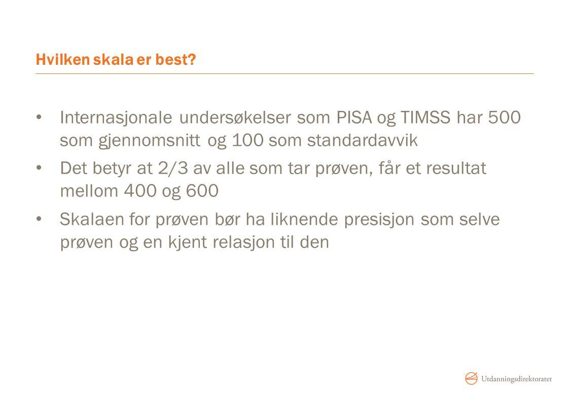 Hvilken skala er best Internasjonale undersøkelser som PISA og TIMSS har 500 som gjennomsnitt og 100 som standardavvik.