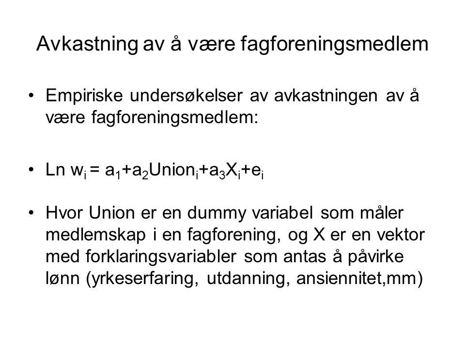 Avkastning av å være fagforeningsmedlem