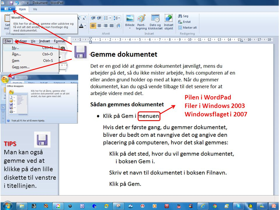 Pilen i WordPad Filer i Windows 2003. Windowsflaget i 2007.