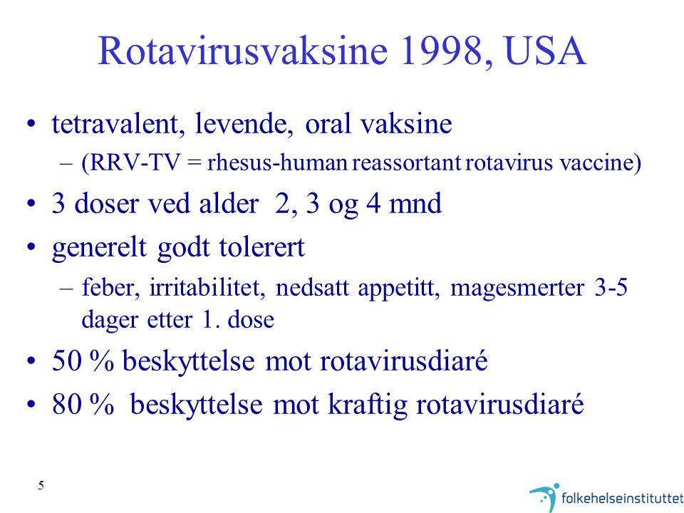 Rotavirusvaksine 1998, USA tetravalent, levende, oral vaksine