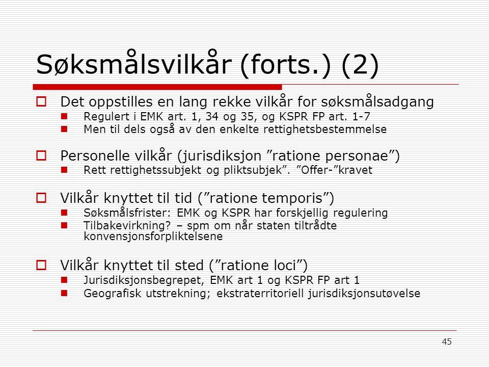 Søksmålsvilkår (forts.) (2)