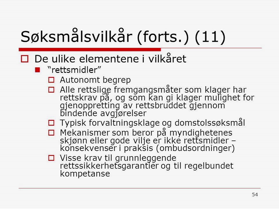 Søksmålsvilkår (forts.) (11)