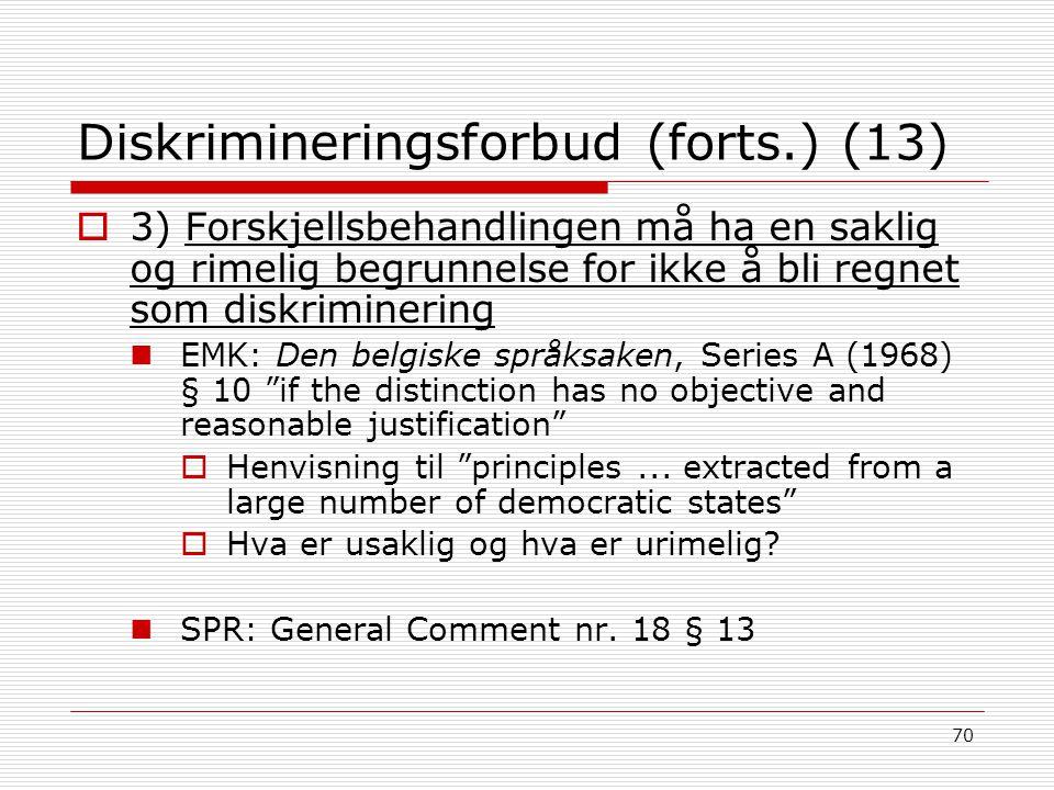 Diskrimineringsforbud (forts.) (13)