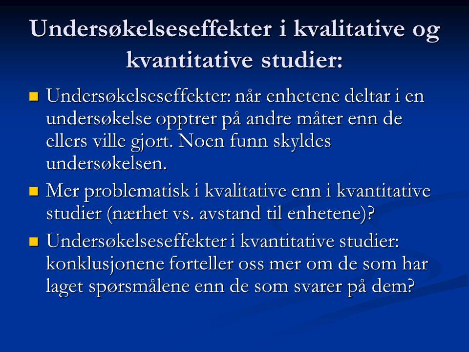Undersøkelseseffekter i kvalitative og kvantitative studier: