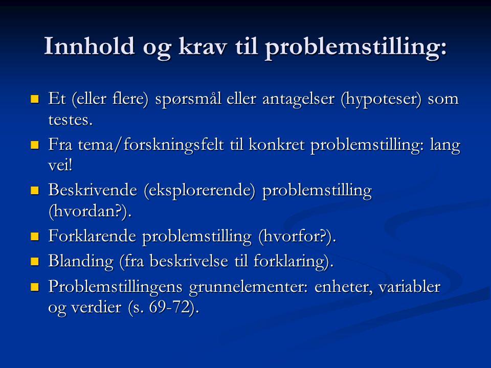 Innhold og krav til problemstilling: