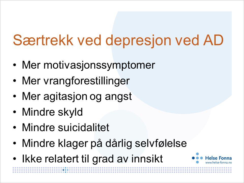 Særtrekk ved depresjon ved AD