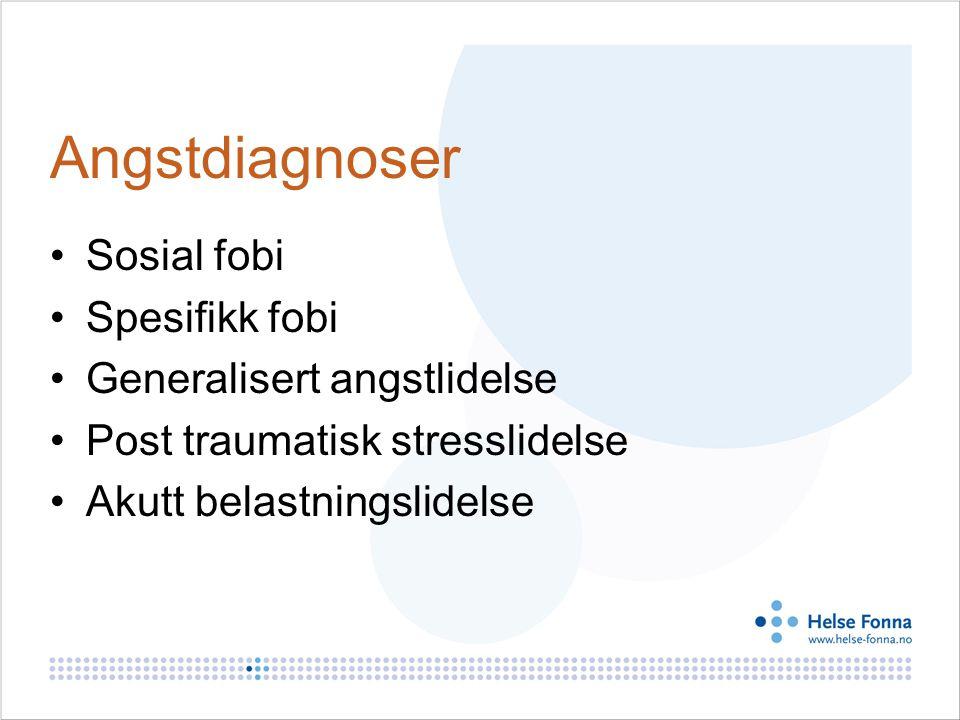 Angstdiagnoser Sosial fobi Spesifikk fobi Generalisert angstlidelse