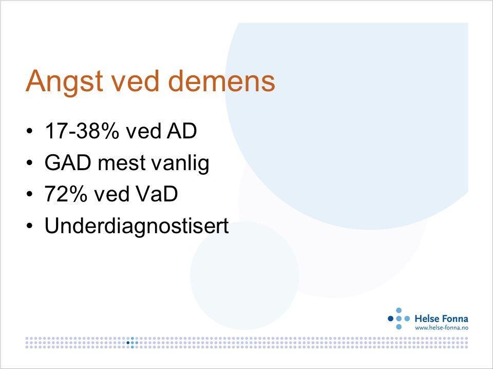Angst ved demens 17-38% ved AD GAD mest vanlig 72% ved VaD