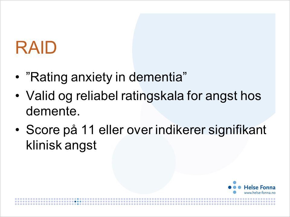 RAID Rating anxiety in dementia