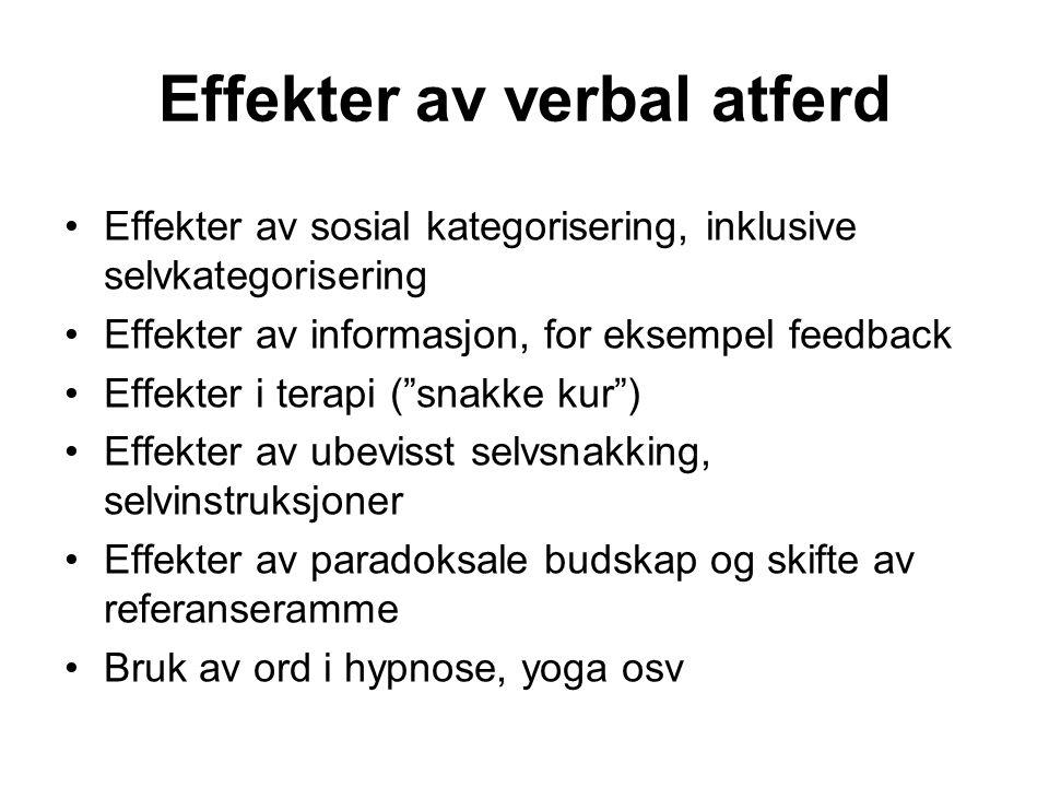 Effekter av verbal atferd