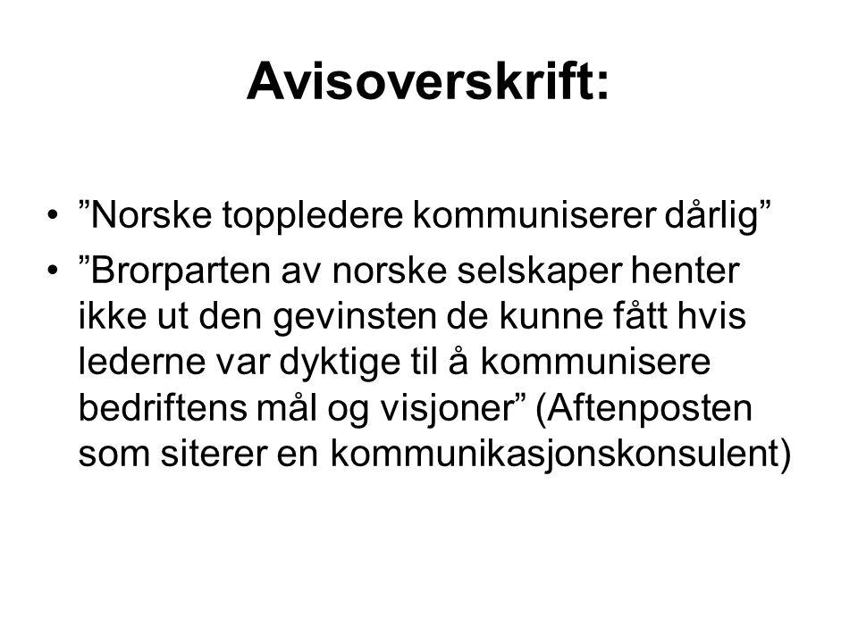 Avisoverskrift: Norske toppledere kommuniserer dårlig