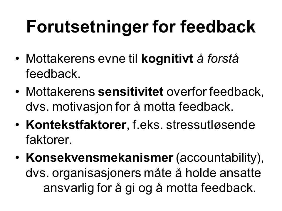 Forutsetninger for feedback