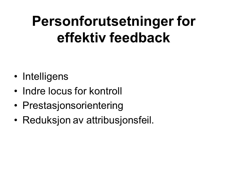 Personforutsetninger for effektiv feedback