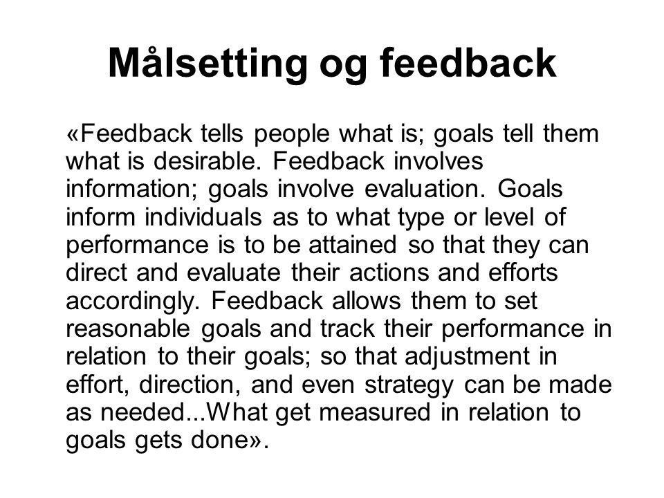 Målsetting og feedback