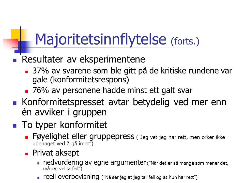 Majoritetsinnflytelse (forts.)