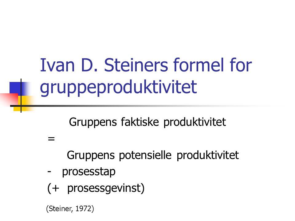 Ivan D. Steiners formel for gruppeproduktivitet