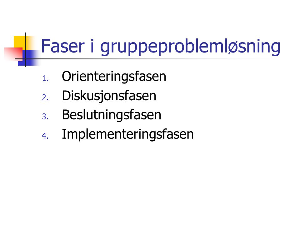 Faser i gruppeproblemløsning