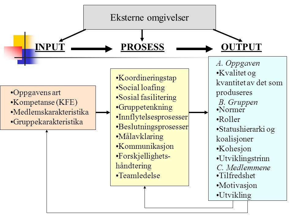 Eksterne omgivelser INPUT PROSESS OUTPUT A. Oppgaven