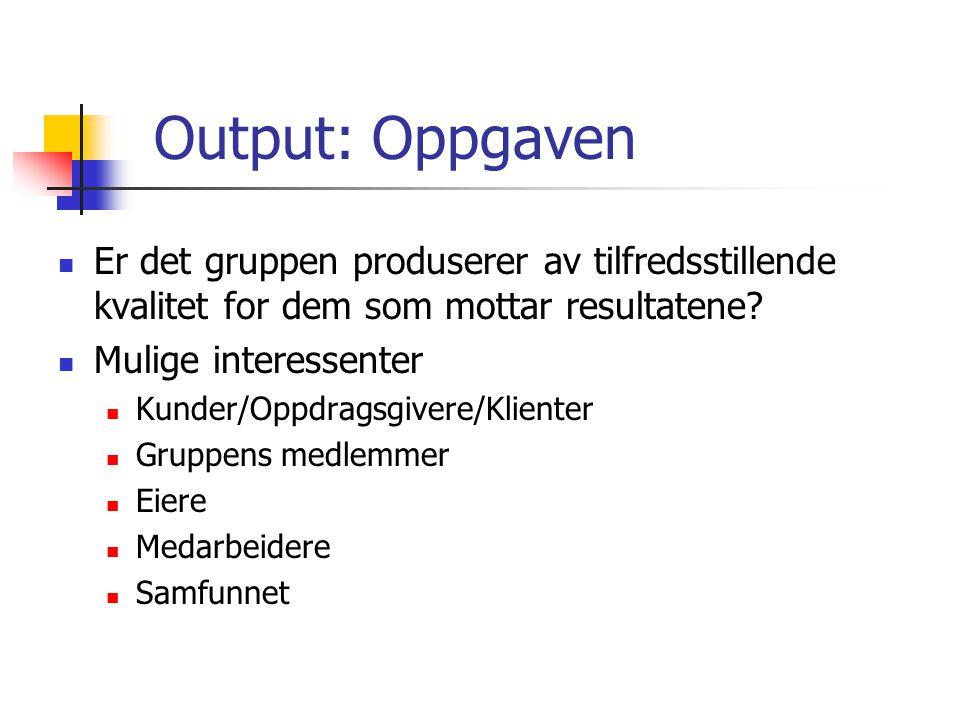 Output: Oppgaven Er det gruppen produserer av tilfredsstillende kvalitet for dem som mottar resultatene