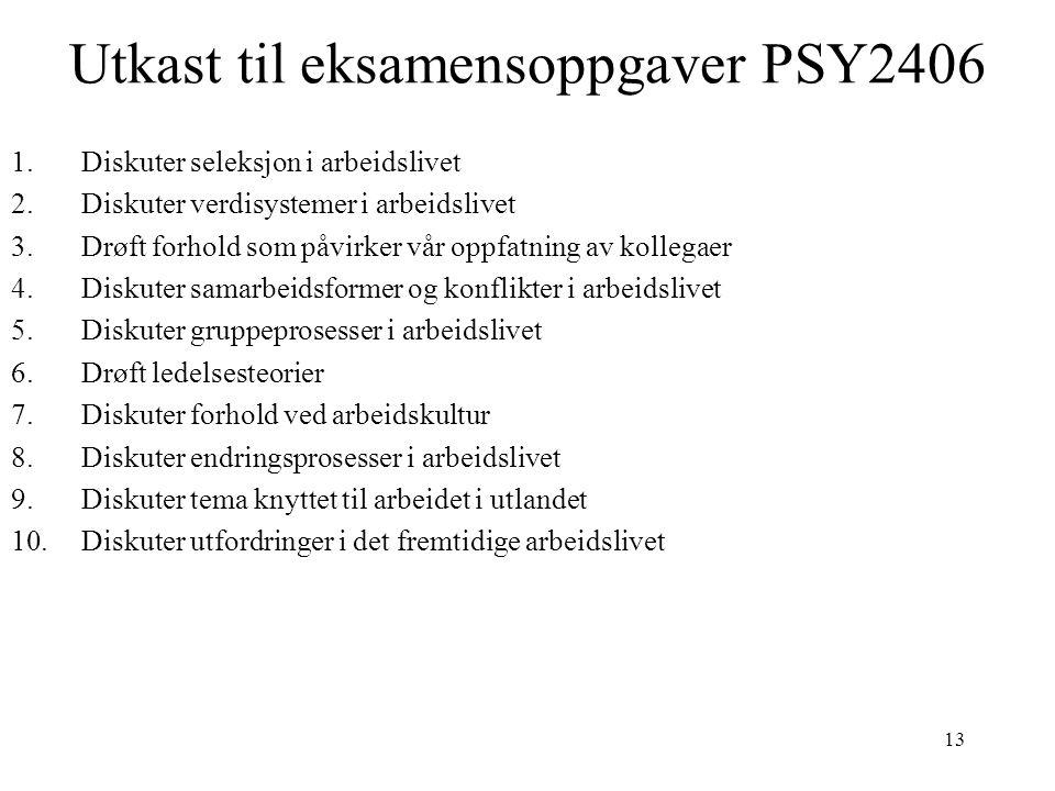 Utkast til eksamensoppgaver PSY2406