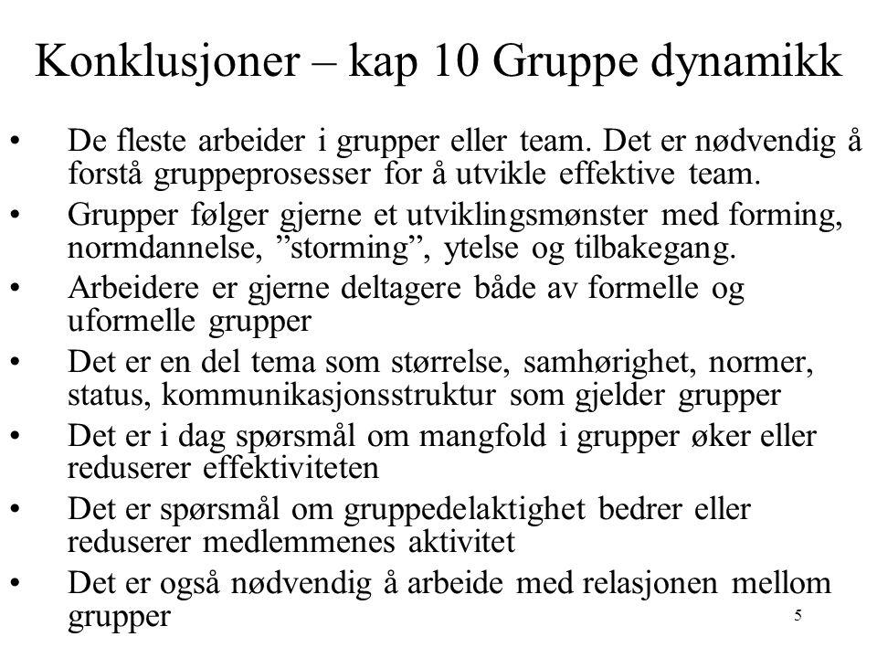 Konklusjoner – kap 10 Gruppe dynamikk
