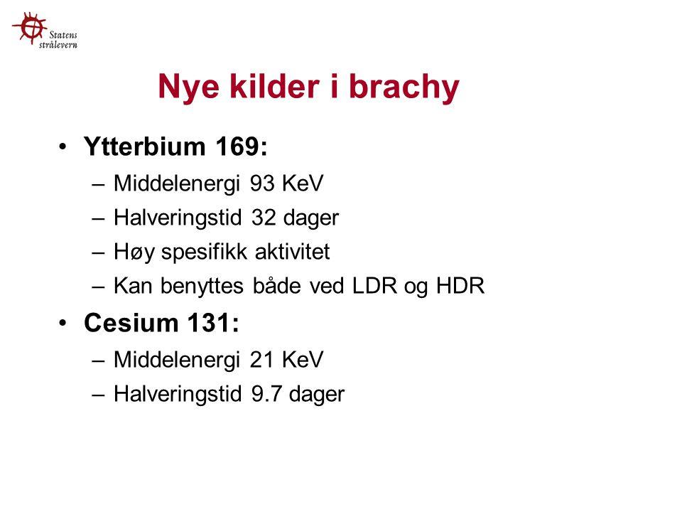 Nye kilder i brachy Ytterbium 169: Cesium 131: Middelenergi 93 KeV