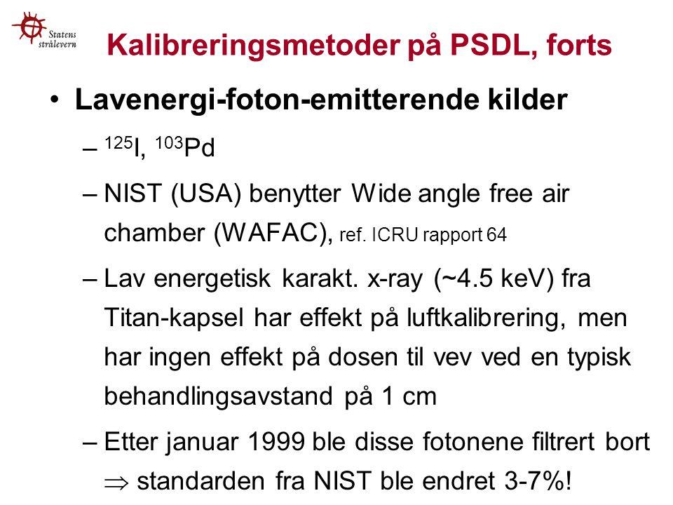 Kalibreringsmetoder på PSDL, forts