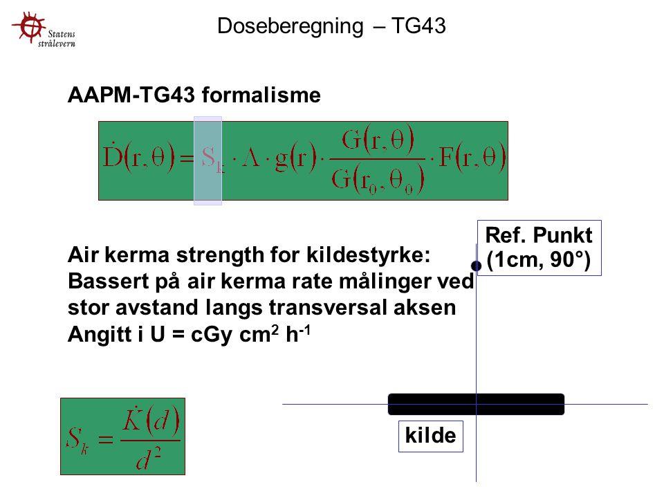 Doseberegning – TG43 AAPM-TG43 formalisme. Air kerma strength for kildestyrke: