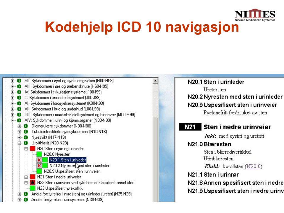 Kodehjelp ICD 10 navigasjon