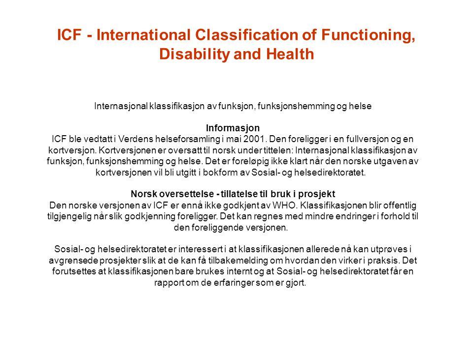 Internasjonal klassifikasjon av funksjon, funksjonshemming og helse