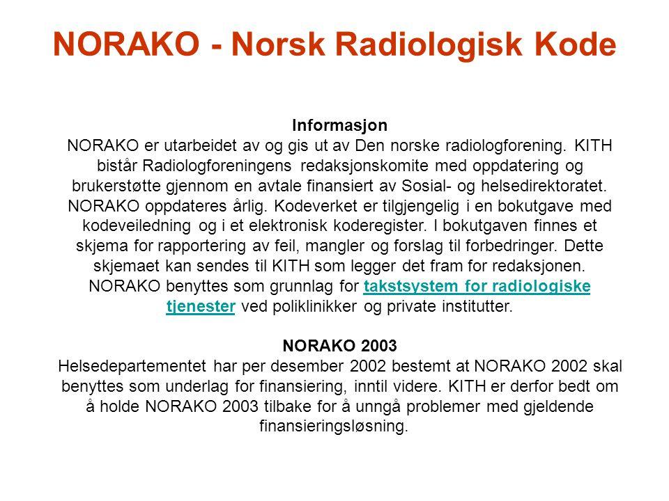 NORAKO - Norsk Radiologisk Kode