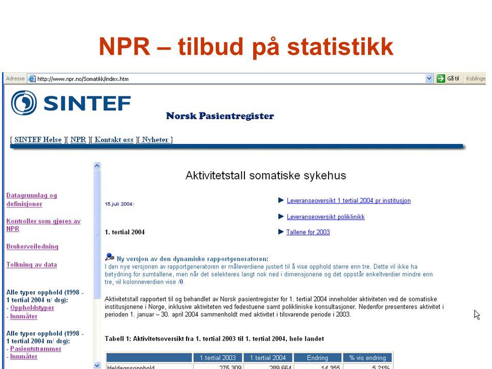 NPR – tilbud på statistikk