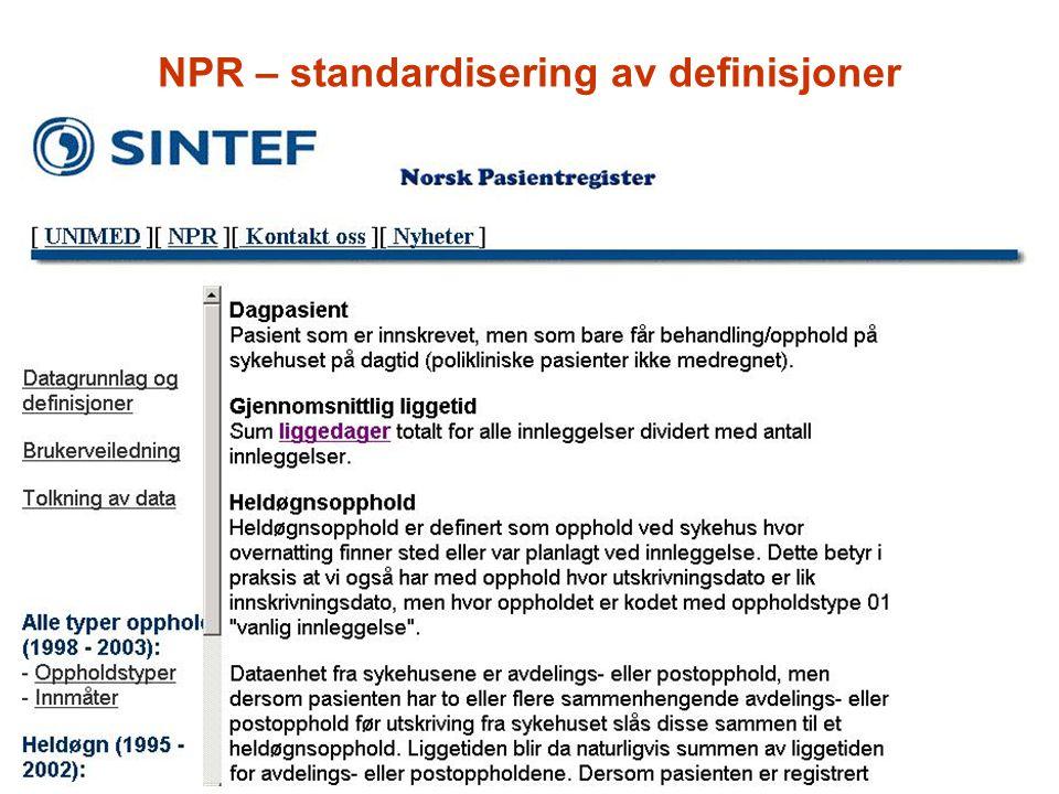 NPR – standardisering av definisjoner