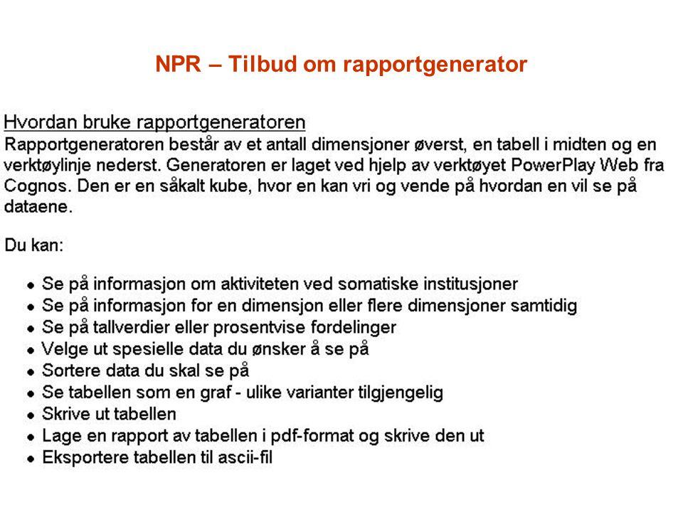 NPR – Tilbud om rapportgenerator