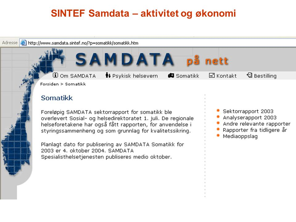 SINTEF Samdata – aktivitet og økonomi