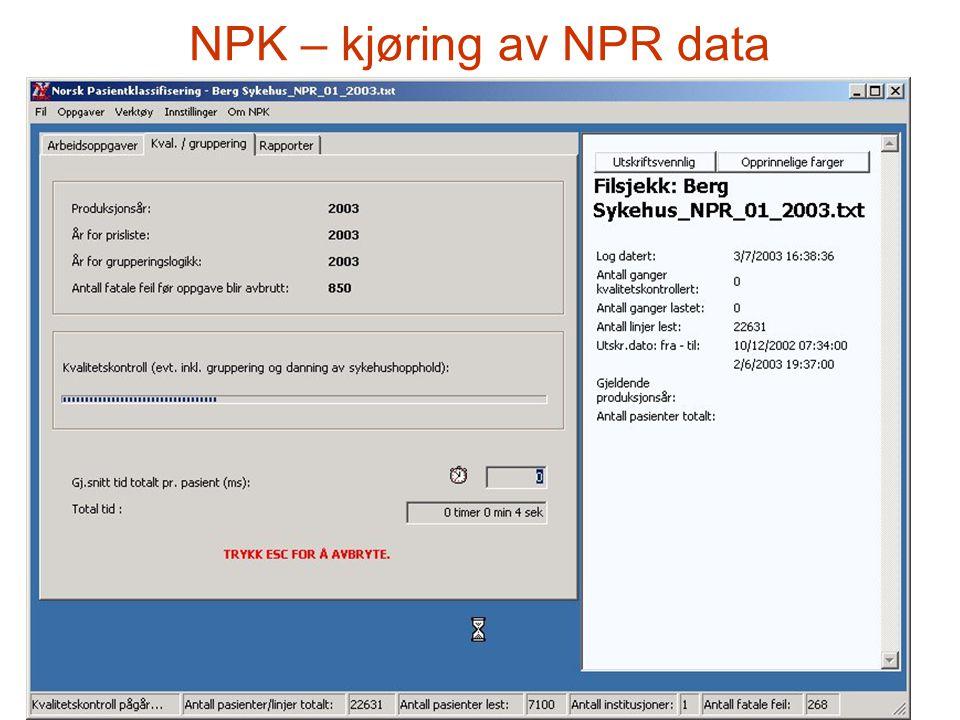 NPK – kjøring av NPR data