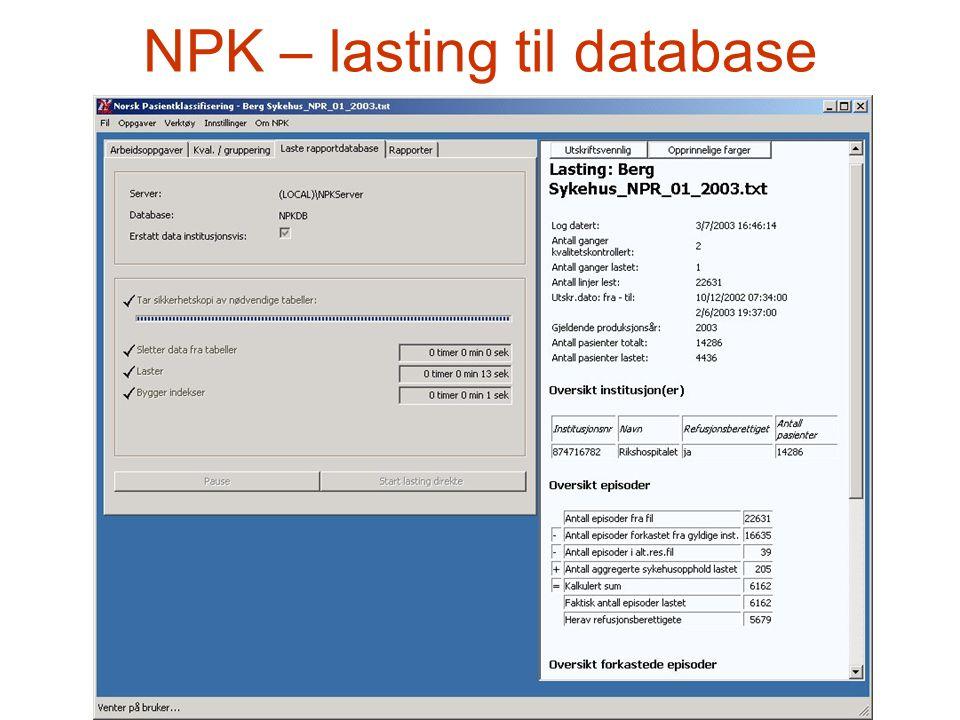 NPK – lasting til database