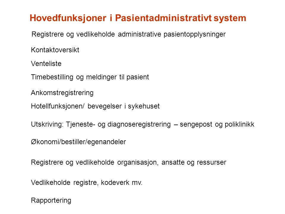 Hovedfunksjoner i Pasientadministrativt system