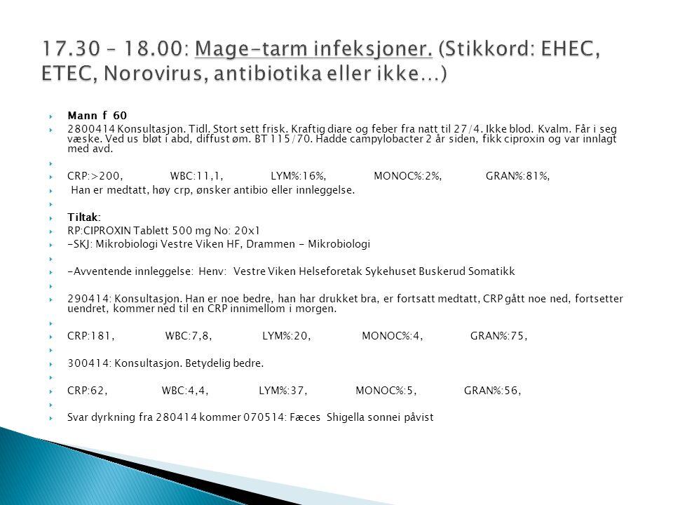 17. 30 – 18. 00: Mage-tarm infeksjoner