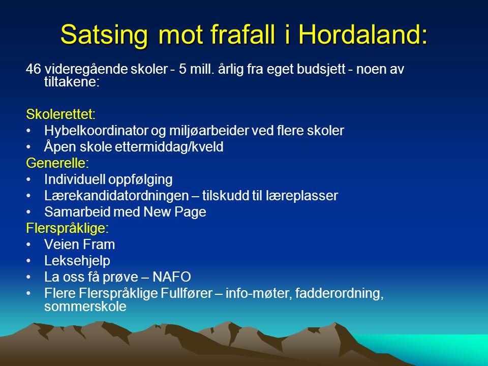 Satsing mot frafall i Hordaland: