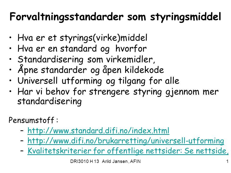 Forvaltningsstandarder som styringsmiddel