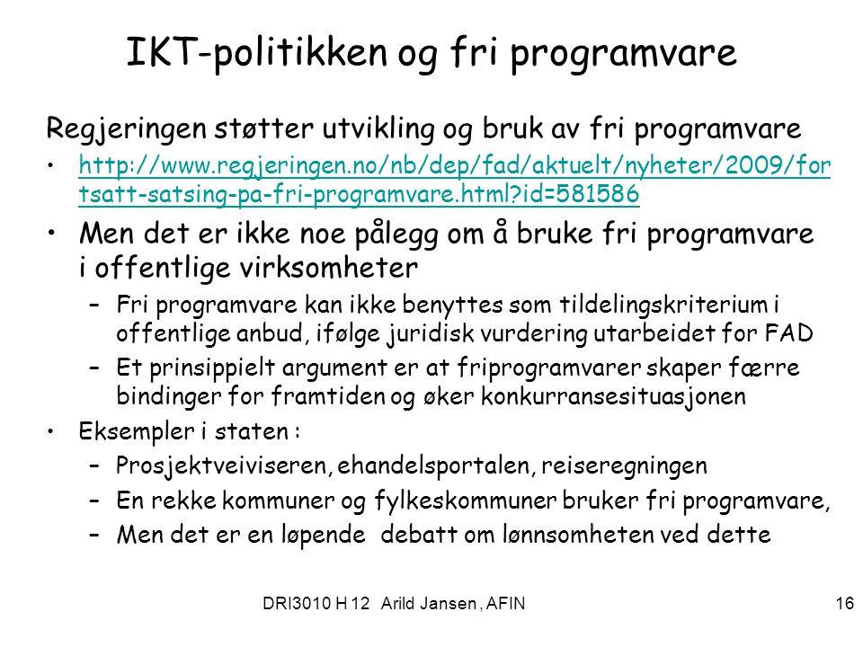 IKT-politikken og fri programvare