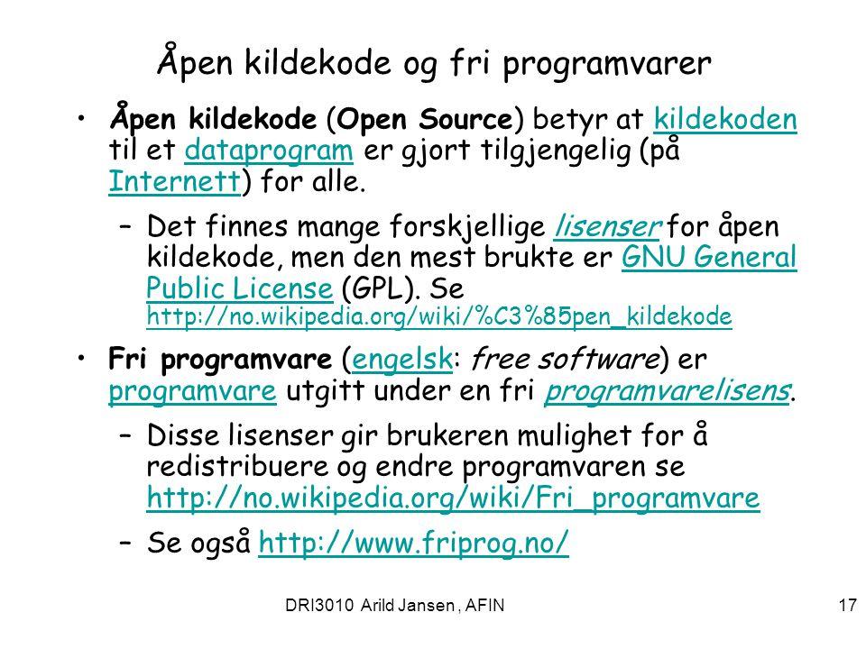 Åpen kildekode og fri programvarer